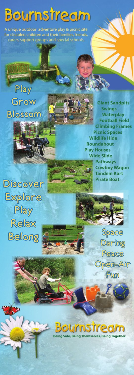 Bournstream banner - A unique outdoor adventure play and picnic site for disabled children and their families, friends, carers, support groups and special schools